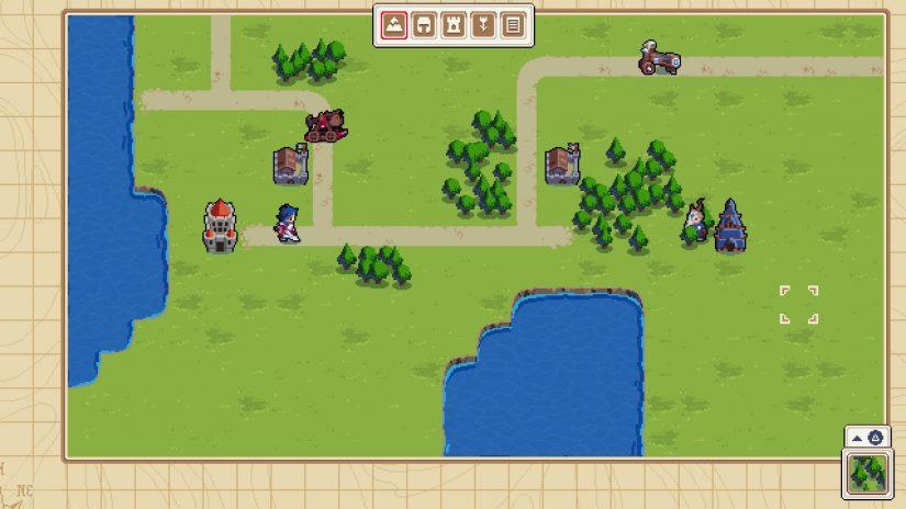 Zrzut ekranu prezentujący edytor map dostępny w Wargroove